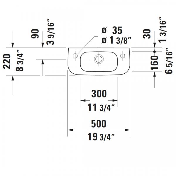 Duravit D-code WM Basin LH 500x220mm_Stiles_TechDrawing_Image3