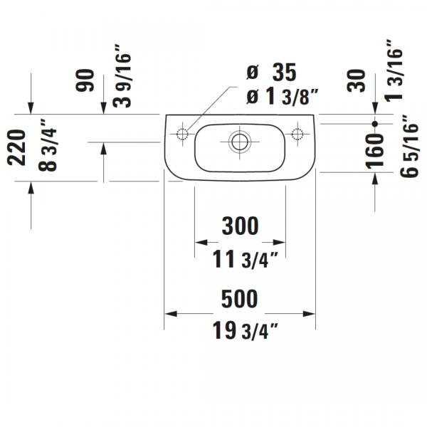 Duravit D-code WM Basin RH 500x220mm_Stiles_TechDrawing_Image3