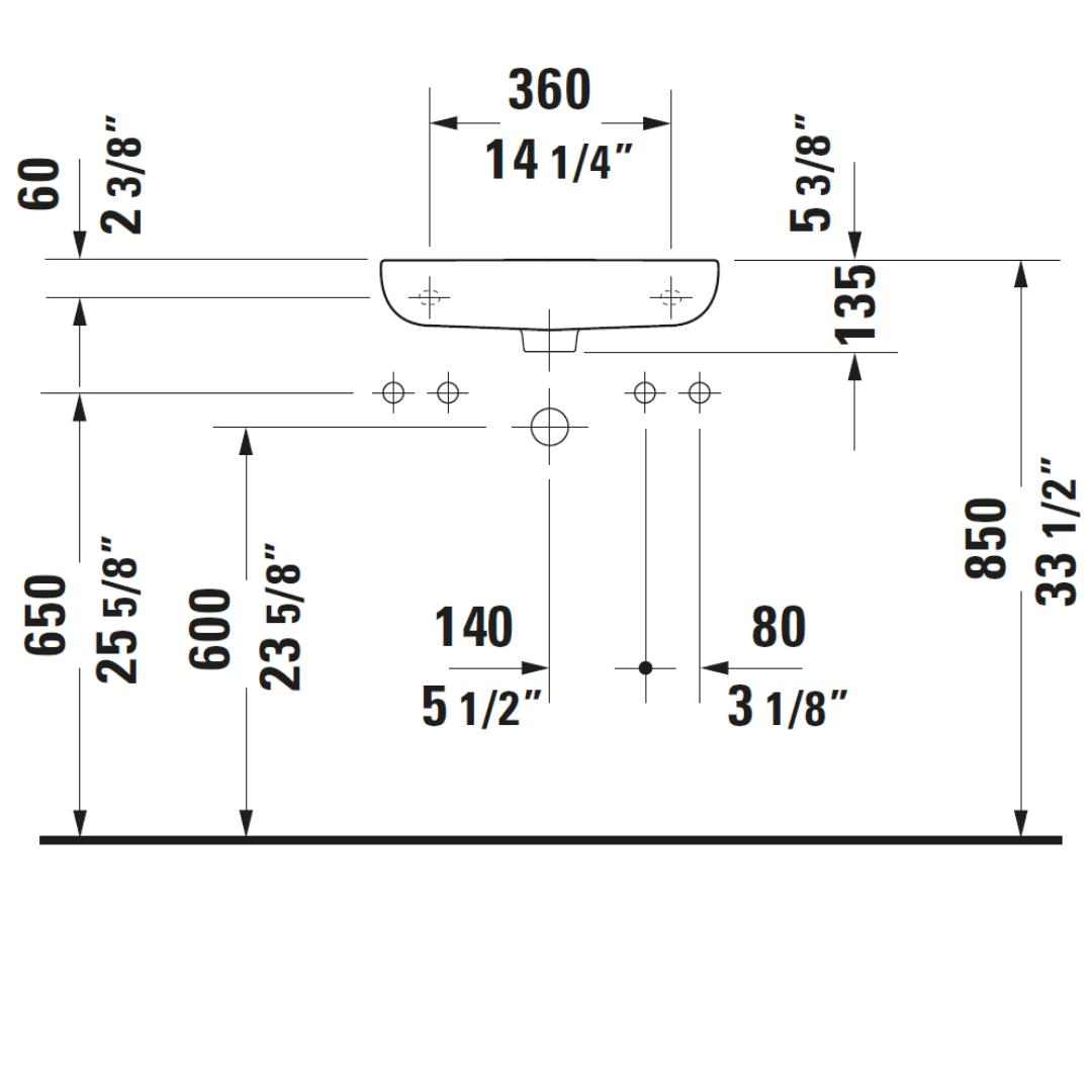 Duravit D-code WM Basin RH 500x220mm_Stiles_TechDrawing_Image4