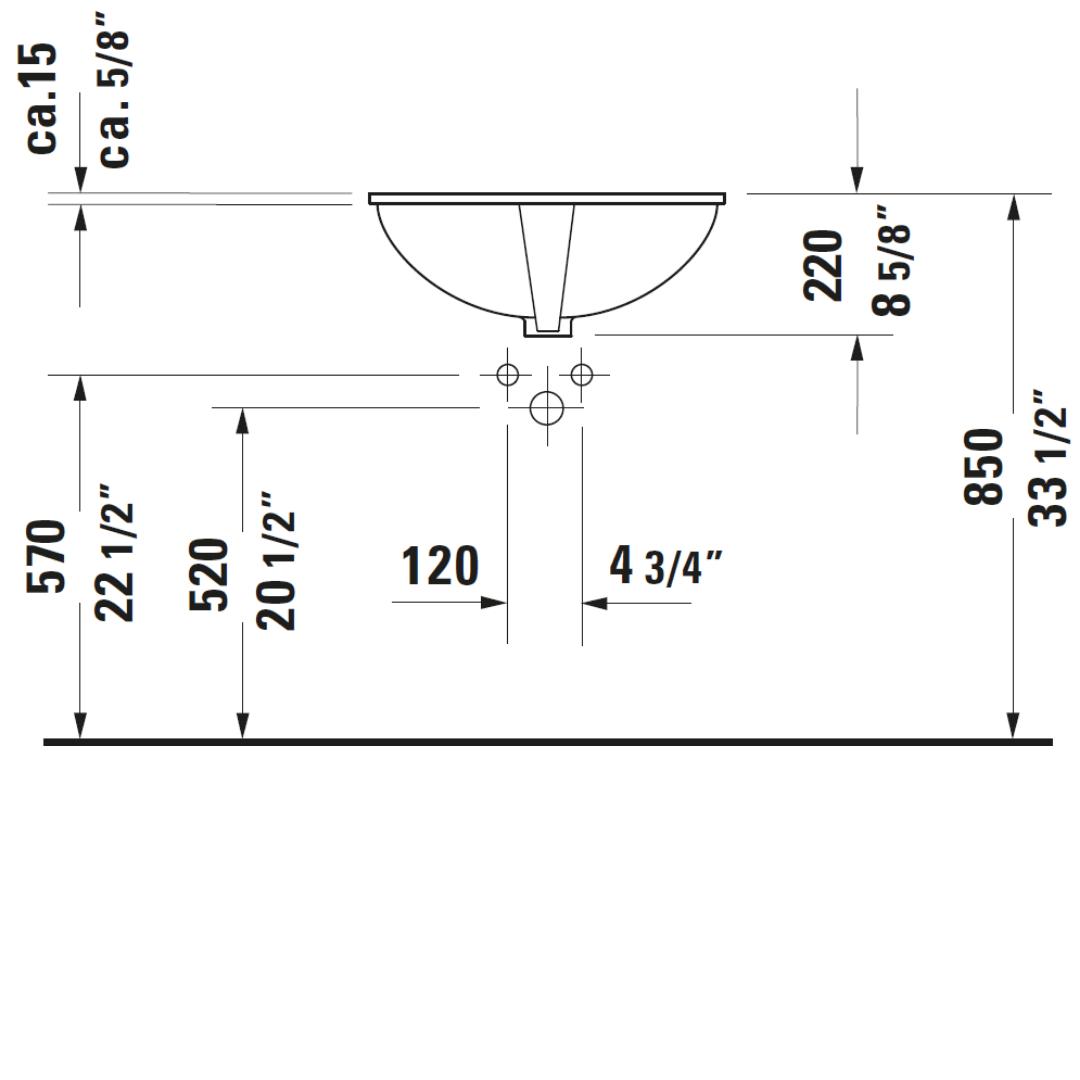 Duravit Dune Undercounter Basin 555x400mm_Stiles_TechDrawing_Image4