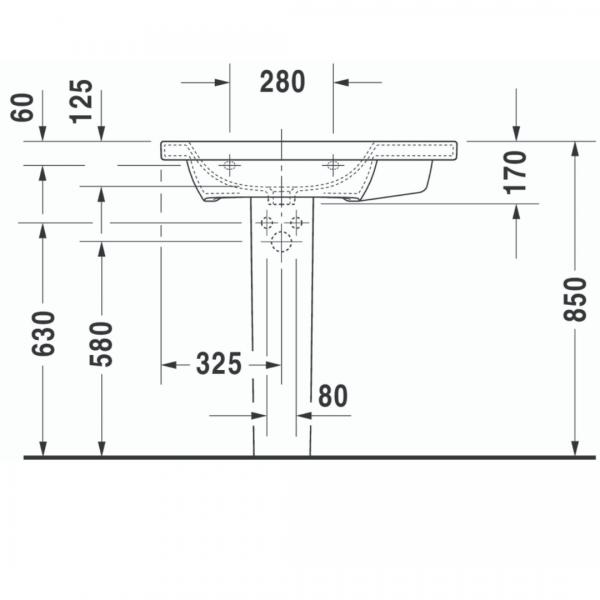 Duravit DuraStyle Asymmetric WM BASIN 800X480mm_Stiles_TechDrawing_Image