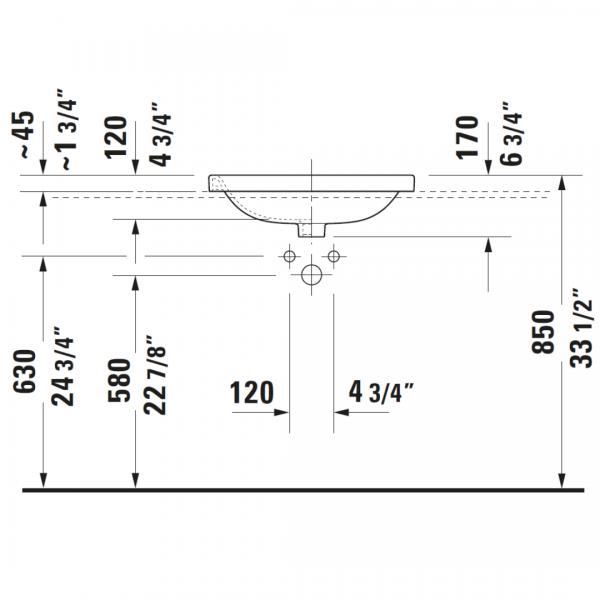 Duravit DuraStyle Drop-in Basin 560x455mm_Stiles_TechDrawing_Image