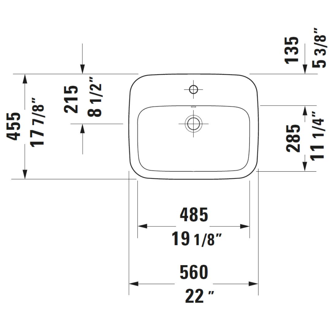 Duravit DuraStyle Drop-in Basin 560x455mm_Stiles_TechDrawing_Image2