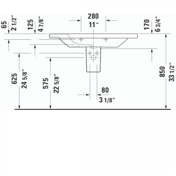 Duravit DuraStyle WM Basin 1000x480mm_Stiles_TechDrawing_Image