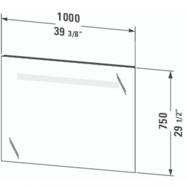 Duravit Ketho Mirror and LED 1000x750mm_Stiles_TechDrawing_Image