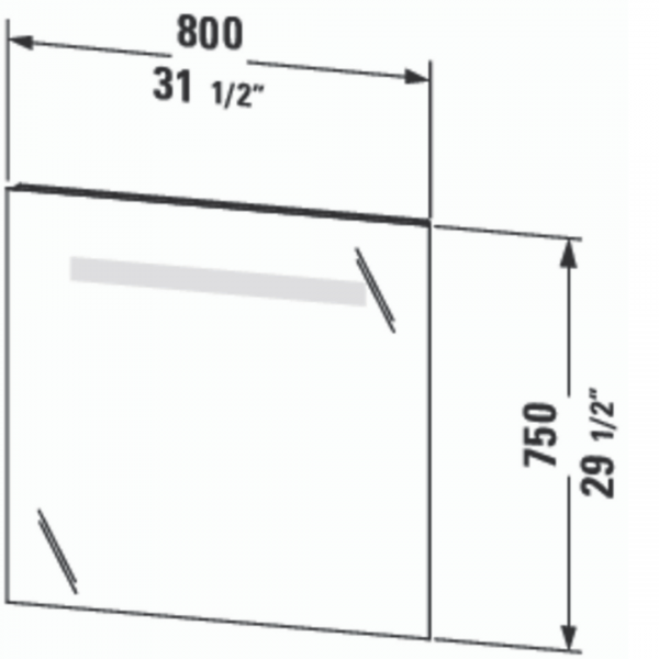 Duravit Ketho Mirror and LED 800x750mm_Stiles_TechDrawing_Image