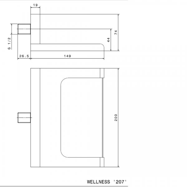 207B N ORama Matt Black Waterfall Spout_Stiles_TechDrawing_Image