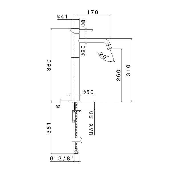 4205 N XT Tall Basin Mixer_Stiles_TechDrawing_Image