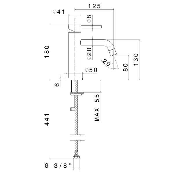 4208 N XT Basin Mixer_Stiles_TechDrawing_Image