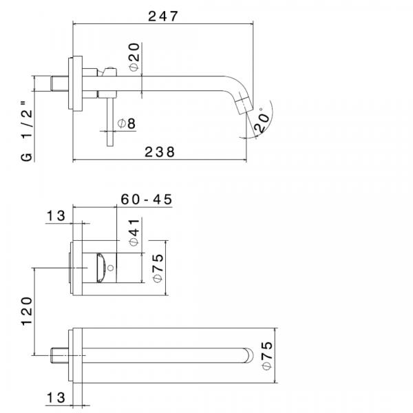 4230E N XT Basin Set_Stiles_TechDrawing_Image