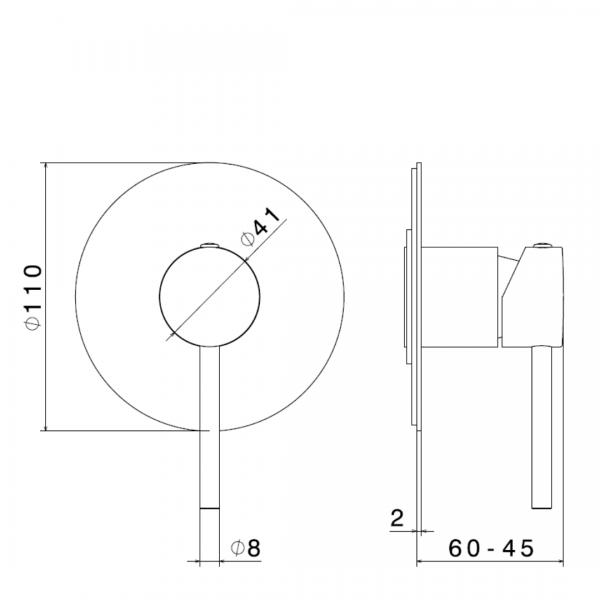 4275E N XT Mini X Shower Mixer_Stiles_TechDrawing_Image