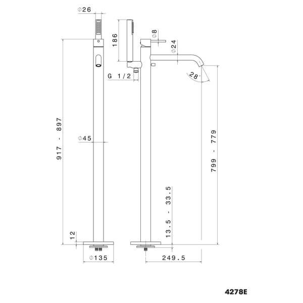 4278.2 N XT Freestanding Bath Mixer_Stiles_TechDrawing_Image