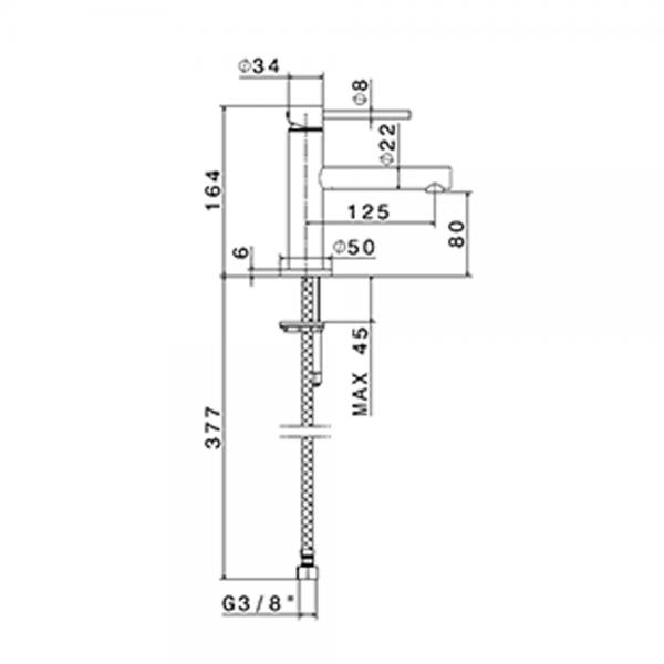 61308 N Mini-X Basin Mixer_Stiles_TechDrawing_Image
