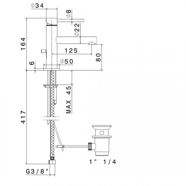 61310 N Mini-X Basin Mixer_Stiles_TechDrawing_Image