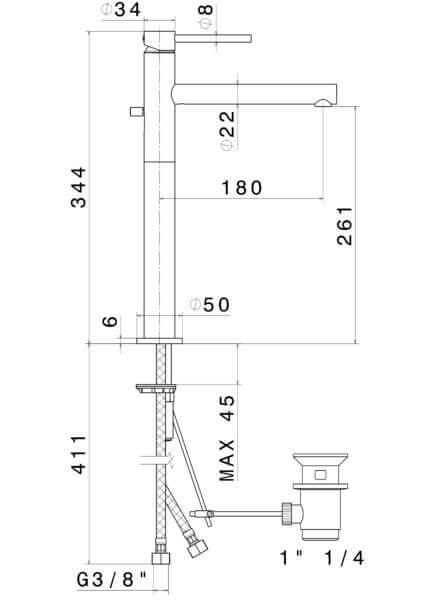 61314 N Mini-X Tall Basin Mixer_Stiles_TechDrawing_Image