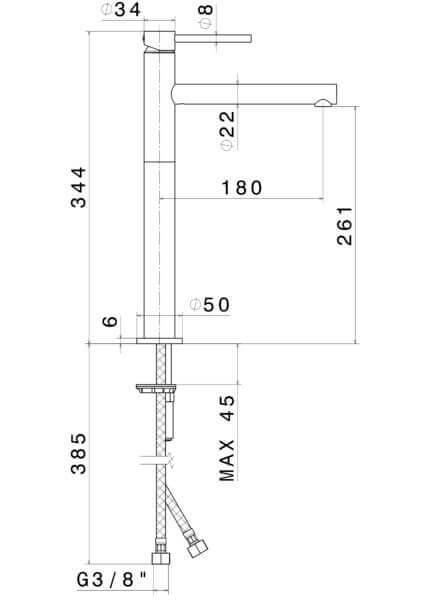 61315 N Mini-X Tall Basin Mixer_Stiles_TechDrawing_Image