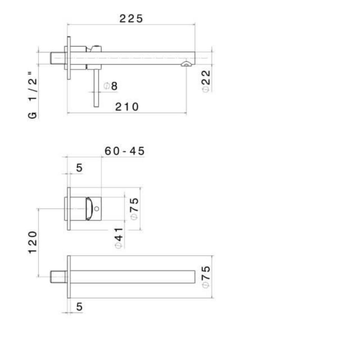 61330E N Mini-X Basin Set 225mm_Stiles_TechDrawing_Image