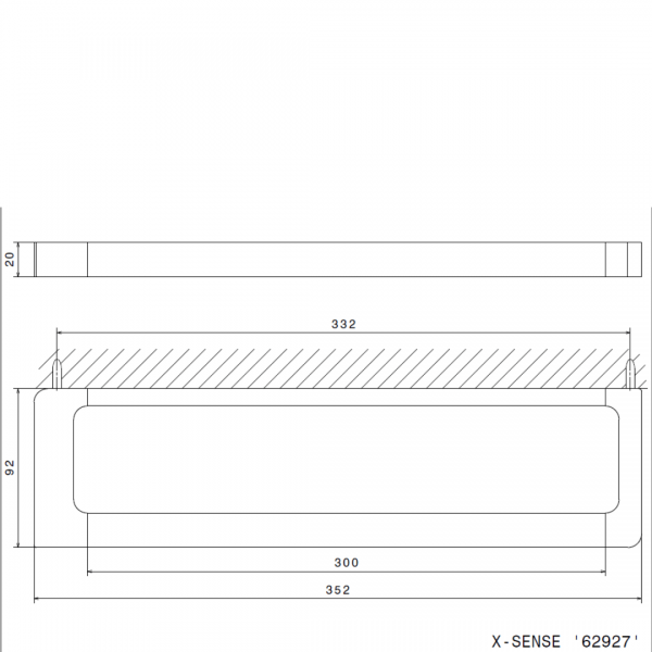 6292721 N XSense Towel Rail 300mm_Stiles_TechDrawing_Image
