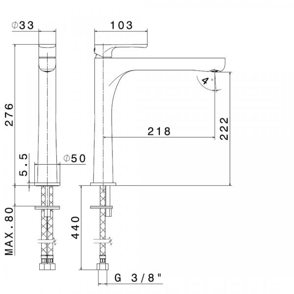 649152 N Linfa II Tall Basin Mixer_Stiles_TechDrawing_Image