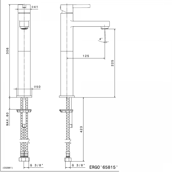 65815 N Ergo Tall Basin Mixer 306mm_Stiles_TechDrawing_Image