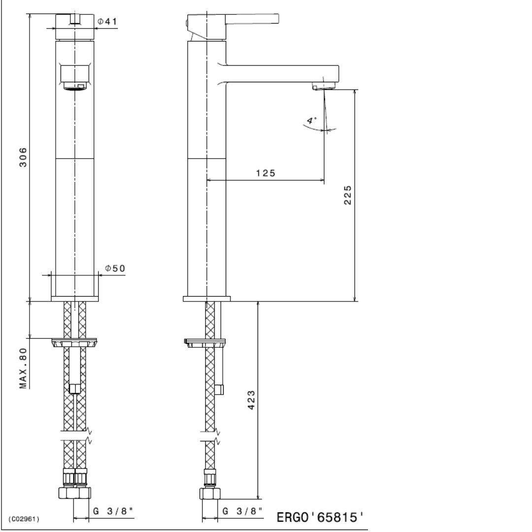 65815 N Ergo Tall Basin Mixer 306mm_Stiles_TechDrawing_Image
