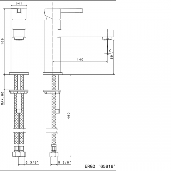 65818 N Ergo Basin Mixer (with long spout)_Stiles_TechDrawing_Image