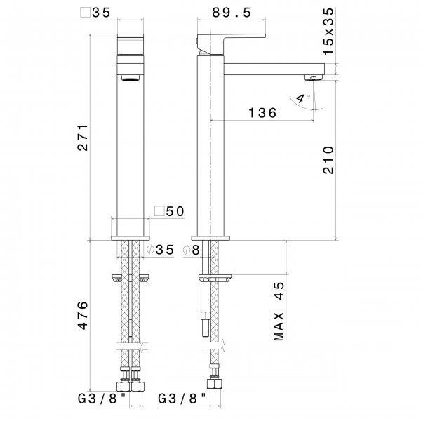 66415 N Ergo Q Tall Basin Mixer_Stiles_TechDrawing_Image