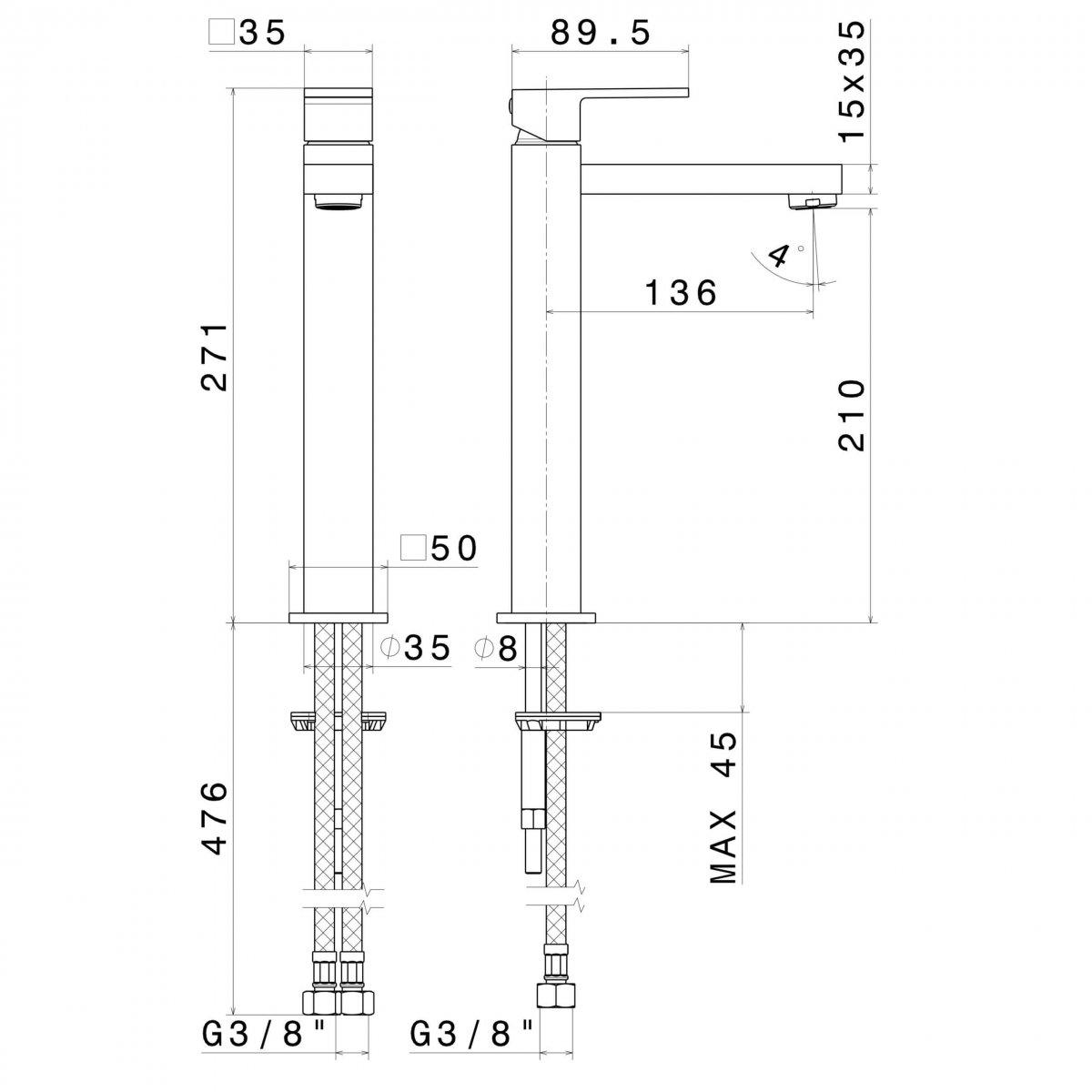 66415B N Ergo Q Tall Matt Black Basin Mixer_Stiles_TechDrawing_Image