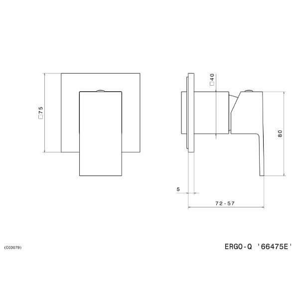66475E N Ergo Q Shower Mixer_Stiles_TechDrawing_Image