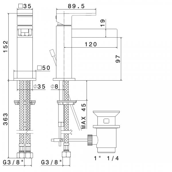 66510 N Ergo Open Basin Mixer 152mm_Stiles_TechDrawing_Image