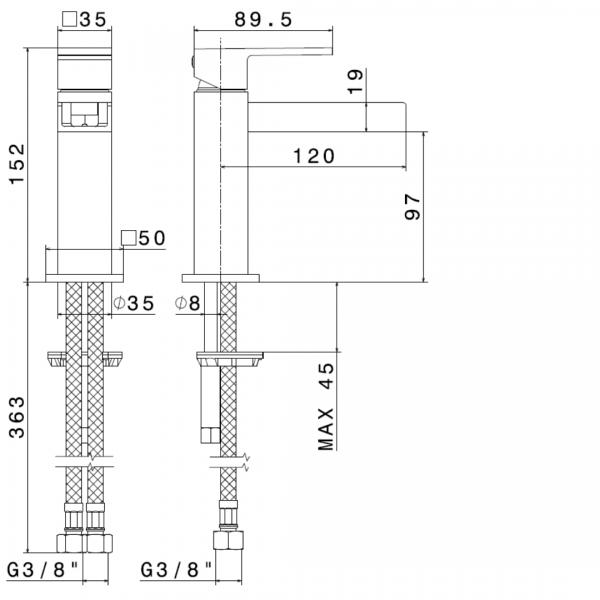 66512 N Ergo Open Basin Mixer_Stiles_TechDrawing_Image