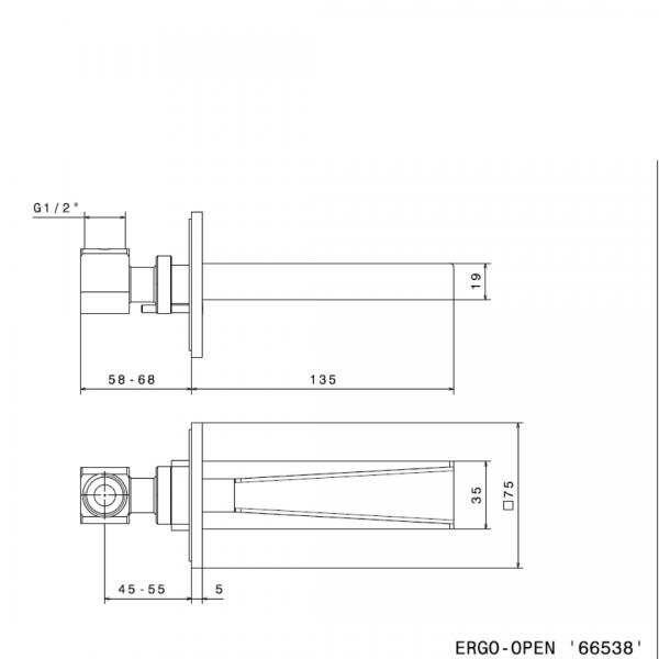 66538_N Ergo Open Waterfall Spout_Stiles_TechDrawing_Image