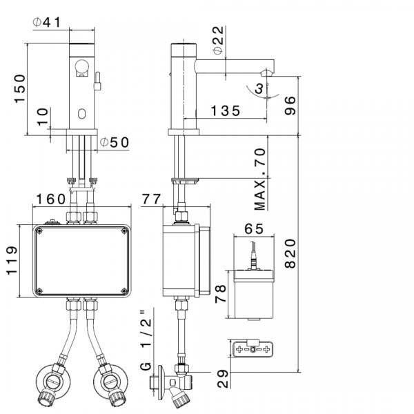 66710 N Sensitive Basin Mixer_Stiles_TechDrawing_Image