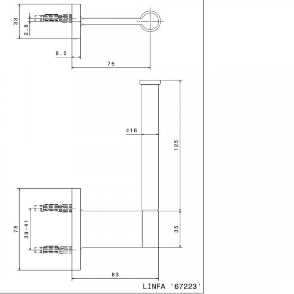 672331 N Linfa-Orama Matt Black Toilet Paper Holder_Stiles_TechDrawing_Image