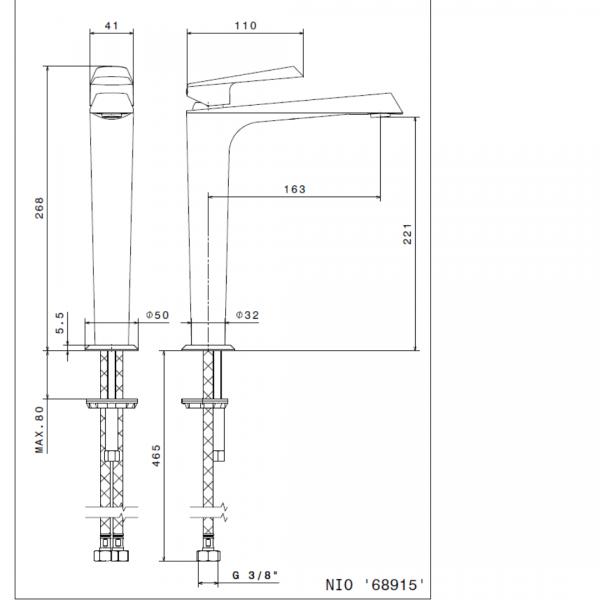 689151 N Nio Tall Matt Black Basin Mixer_Stiles_TechDrawing_Image