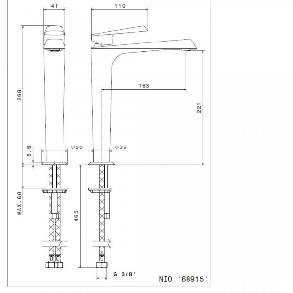 689152 N Nio Tall Basin Mixer_Stiles_TechDrawing_Image
