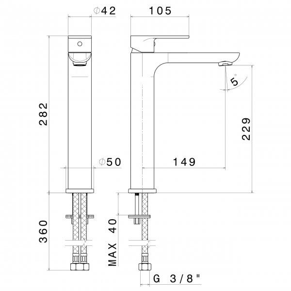 69315 N Extro Tall Basin Mixer_Stiles_TechDrawing_Image