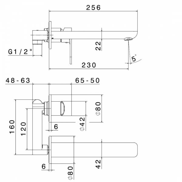 693302 N Extro Wall Mounted Basin Set (2 piece)_Stiles_TechDrawing_Image