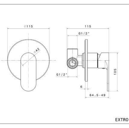 69375E N Extro Concealed Mixer_Stiles_TechDrawing_Image