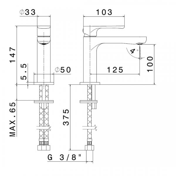 694122 N Linfa II Basin Mixer_Stiles_TechDrawing_Image