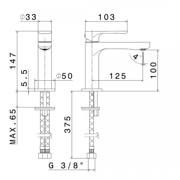 69412B N Linfa II Matt Black Basin Mixer_Stiles_TechDrawing_Image