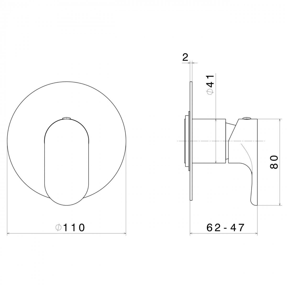 69475E N Linfa II Shower Mixer_Stiles_TechDrawing_Image