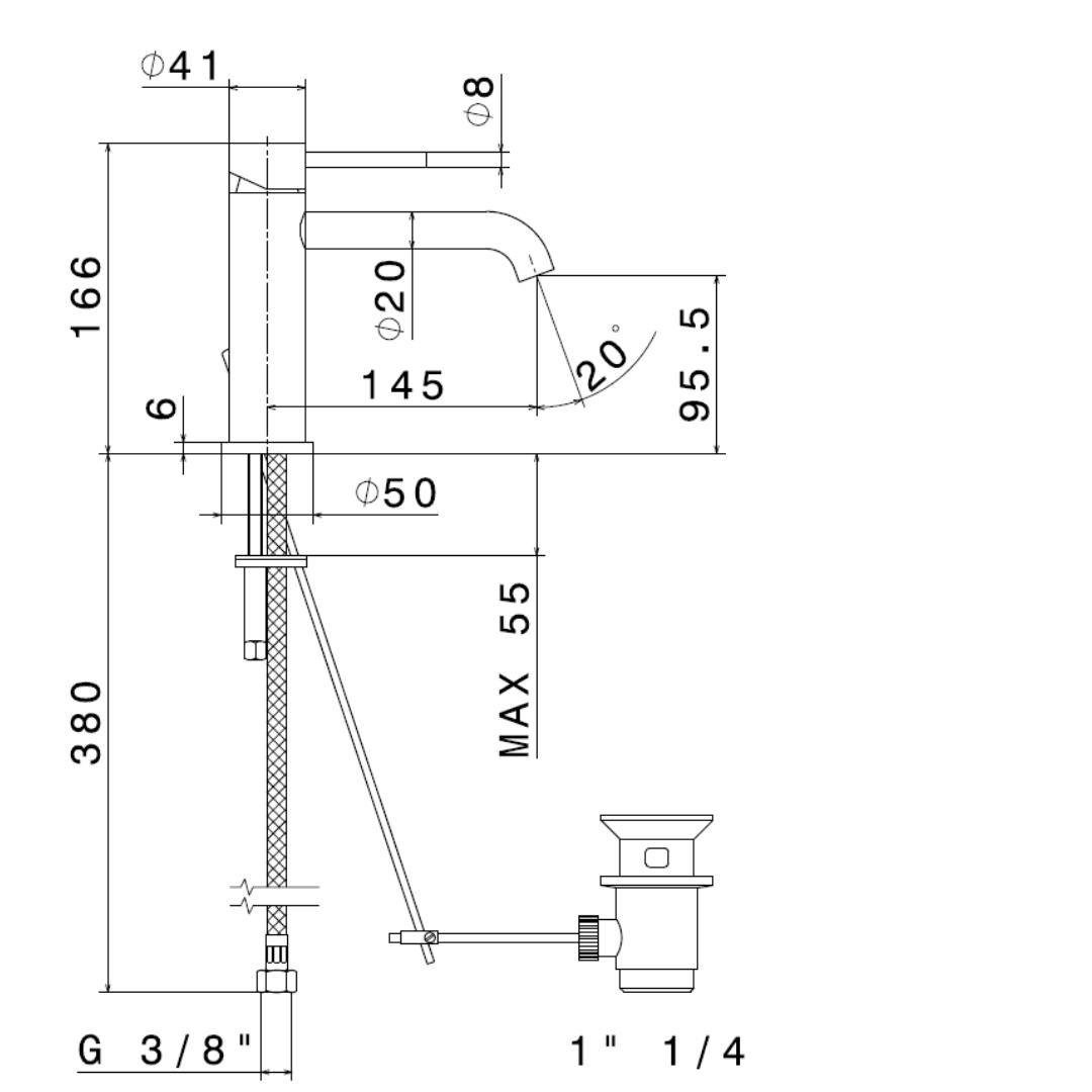 69610X N X-Steel 316 SS Basin Mixer_Stiles_TechDrawing_Image