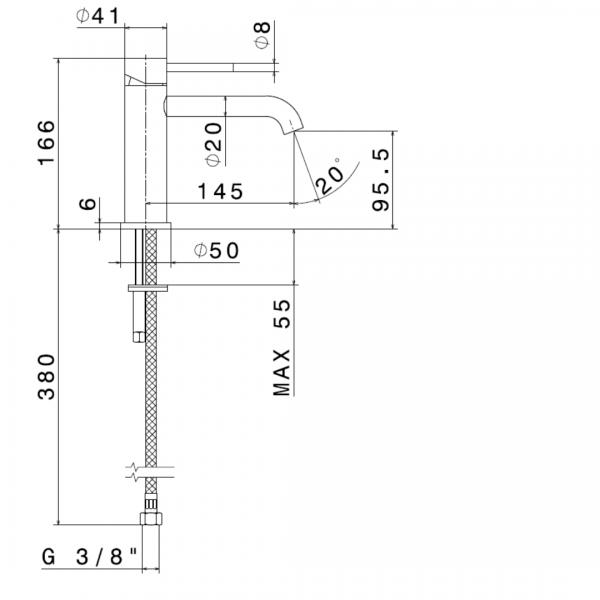 69612X N X-Steel 316 SS Basin Mixer_Stiles_TechDrawing_Image