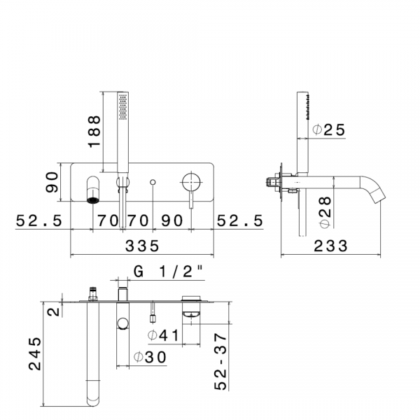 69671X_N X-Steel 316 Wall Mounted Bath Set_Stiles_TechDrawing_Image