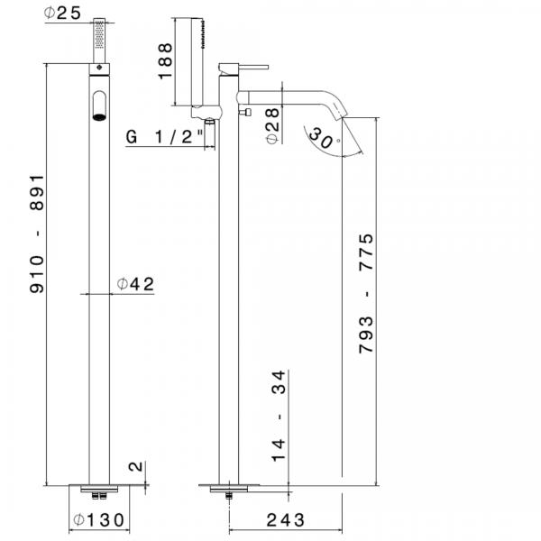 69684E_N X-Steel 316 FS Bath Mixer_Stiles_TechDrawing_Image