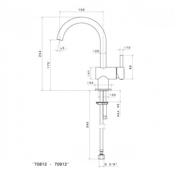 708122_N Blink Basin Mixer (with swivel spout)_Stiles_TechDrawing_Image