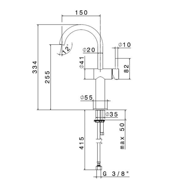 708152_N Blink Tall Basin Mixer (with swivel spout_Stiles_TechDrawing_Image