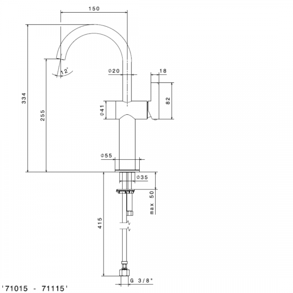 711152 N Blink Chic Tall Basin Mixer (with swivel spout)_Stiles_TechDrawing_Image