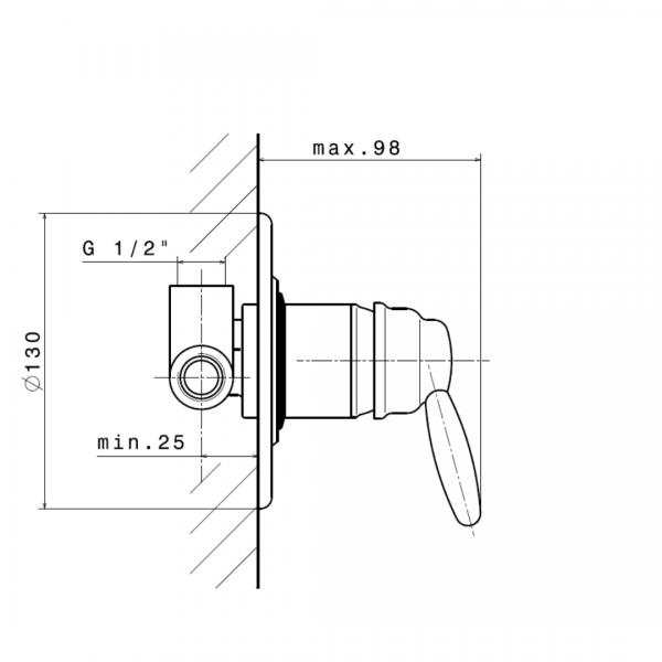 9175 N Antea Shower Mixer_Stiles_TechDrawing_Image